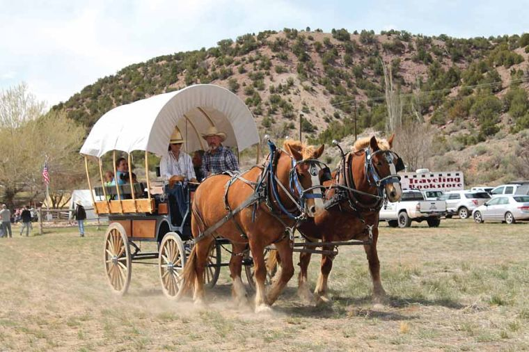 covered wagon pulled by team of horses